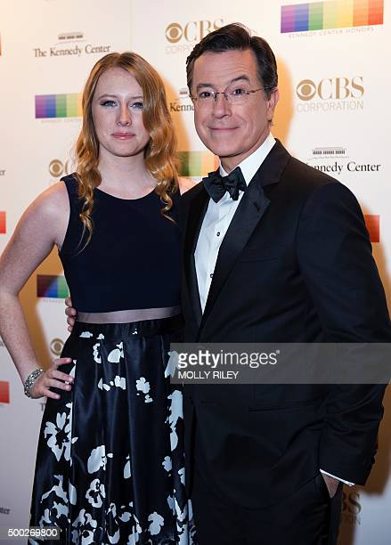 Stephen Colbert poses with his daughter Madeline on the red carpet before the 38th Annual Kennedy Center Honors December 6 2015 in Washington DC AFP...