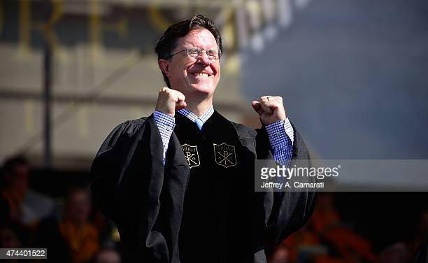 Stephen Colbert reacts to the conferring of his honorary Doctorate degree in Humane Letters during the Wake Forest University Graduation Exercises on...