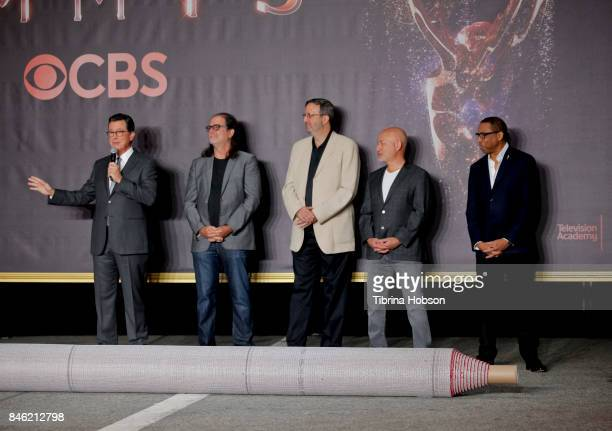 Stephen Colbert Ricky Kirshner Glenn Weiss and Hayma Washington attend the 69th Emmy Awards Red Carpet Rollout and Press Preview Day at Microsoft...
