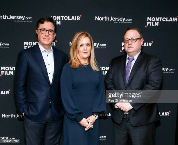 Stephen Colbert Samantha Bee and Tom Hall Executive director of the Montclair Film Festival attend Sad A Happy Evening with Stephen Colbert Samantha...