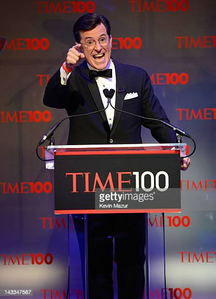 Stephen Colbert speaks on stage at the TIME 100 Gala celebrating TIME'S 100 Most Infuential People In The World at Jazz at Lincoln Center on April...