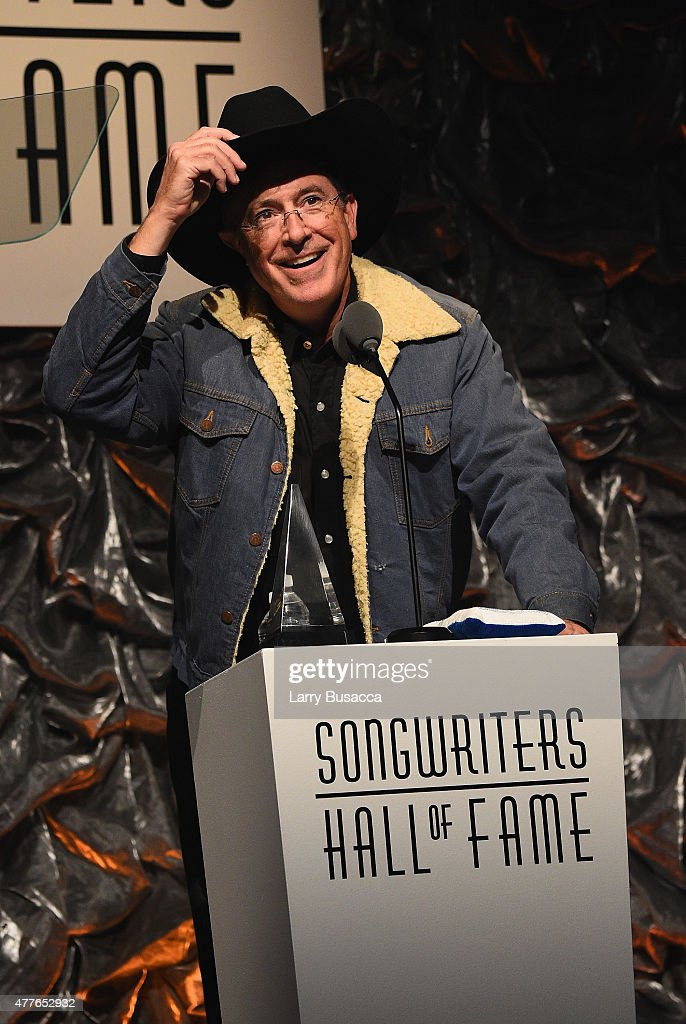 Stephen Colbert speaks onstage at the Songwriters Hall Of Fame 46th Annual Induction And Awards at Marriott Marquis Hotel on June 18, 2015 in New York City.
