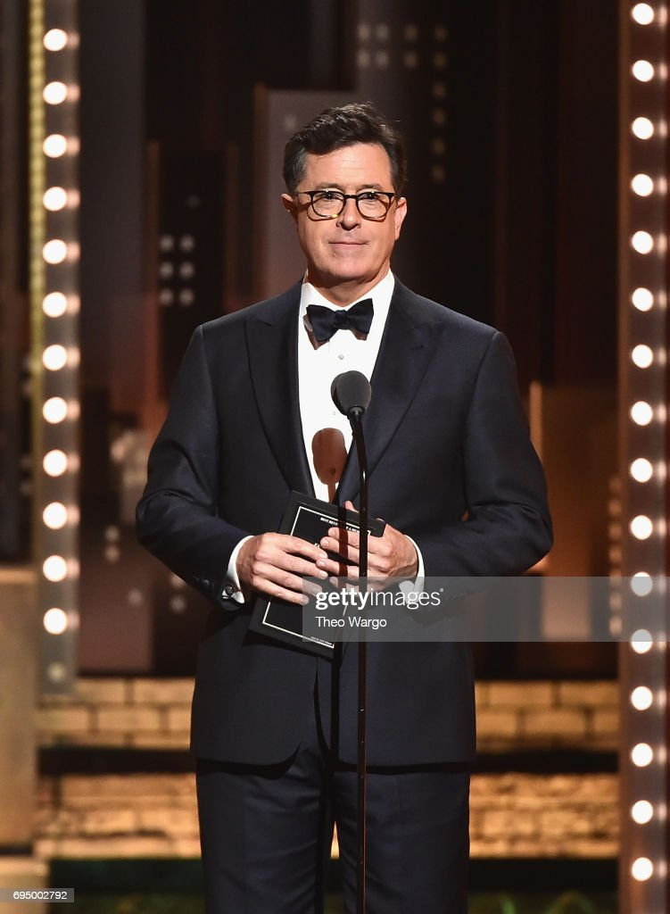 Stephen Colbert speaks onstage during the 2017 Tony Awards at Radio City Music Hall on June 11, 2017 in New York City.