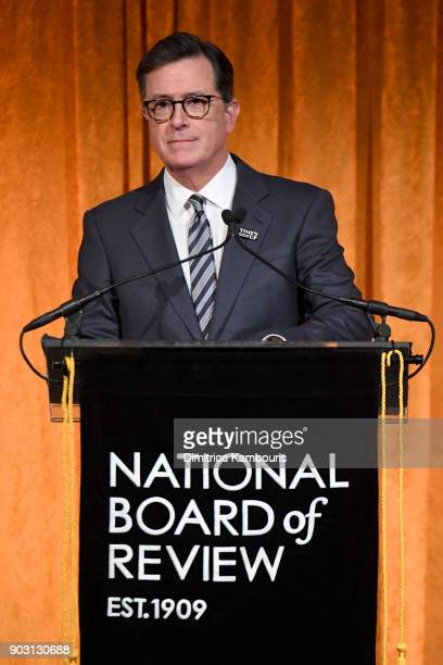 Stephen Colbert speaks onstage during the National Board of Review Annual Awards Gala at Cipriani 42nd Street on January 9 2018 in New York City
