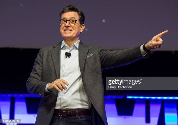 Stephen Colbert speaks onstage during the Star Wars Celebration at the Wintrust Arena on April 12, 2019 in Chicago, Illinois.