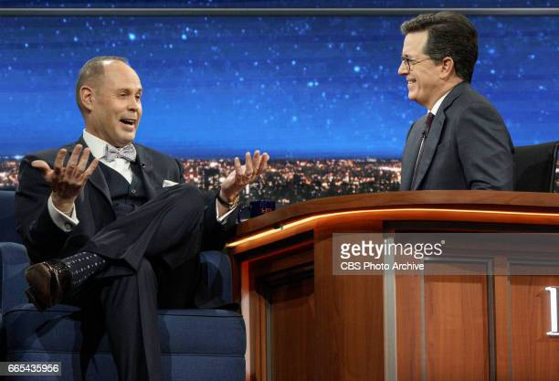 Stephen Colbert talks with Ernie Johnson Jr during Tuesday's 4/4/17 taping in New York