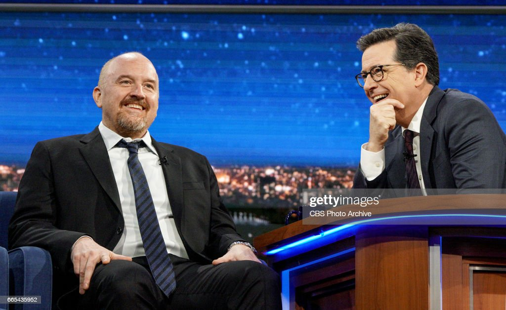 Stephen Colbert talks with Louis C.K. during Tuesday's 4/4/17 taping in New York.