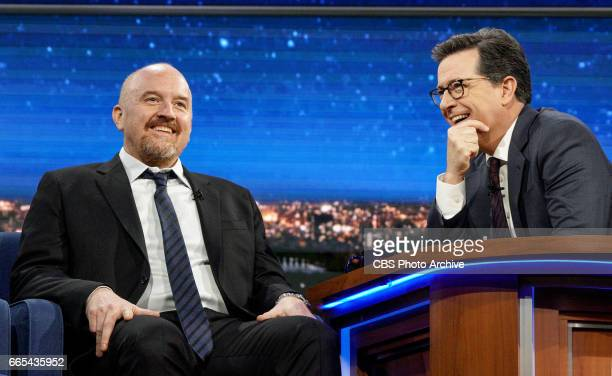 Stephen Colbert talks with Louis CK during Tuesday's 4/4/17 taping in New York