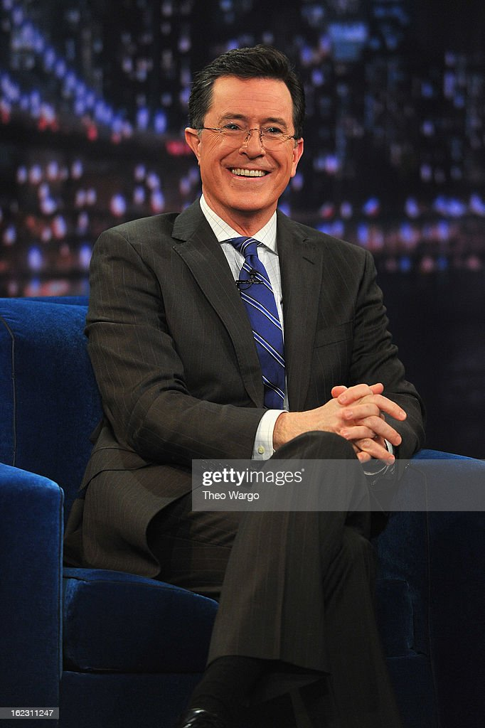 Stephen Colbert visits 'Late Night With Jimmy Fallon' at Rockefeller Center on February 21, 2013 in New York City.