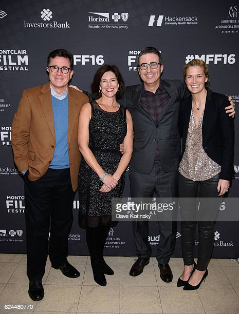 Stephen Colbert, wife Evelyn McGee-Colbert, John Oliver and wife Kate Norley arrive at the Post-Election Evening to Benefit Montclair Film Festival...