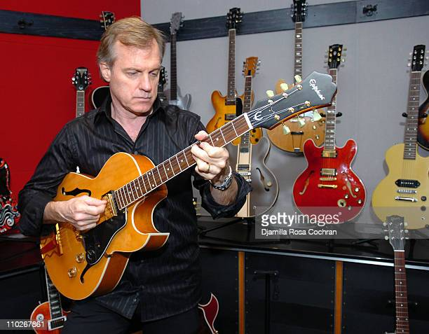 Stephen Collins during Stephen Collins with a J160E John Lennon Peace Model Acoustic Guitar Courtesy of Gibson Guitars at Hit Factory Building in New...