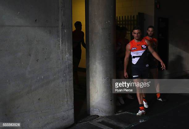 Stephen Coniglio and Callan Ward of the Giants lead their team out during the round nine AFL match between the Greater Western Sydney Giants and the...