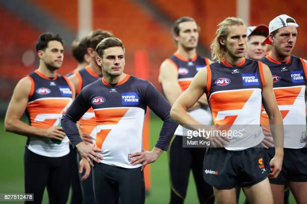 Stephen Coniglio of the Giants looks on during a Greater Western Sydney Giants AFL training session at Spotless Stadium on August 8 2017 in Sydney...