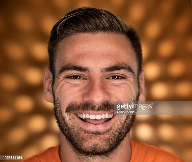 Stephen Coniglio of the Giants poses during the GWS Giants AFL portrait session on January 19, 2021 in Sydney, Australia.