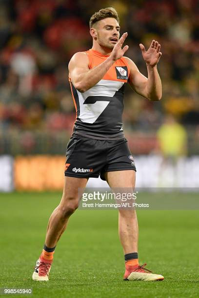 Stephen Coniglio of the Giants reacts during the round 17 AFL match between the Greater Western Sydney Giants and the Richmond Tigers at Spotless...