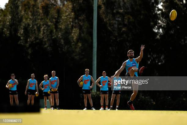 Stephen Coniglio of the Giants trains during a Greater Western Sydney Giants AFL media opportunity at Tom Wills Oval on May 20, 2020 in Sydney,...