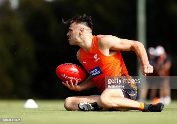 Stephen Coniglio of the Giants trains during a Greater Western Sydney Giants AFL training session at Tom Wills Oval on February 05, 2021 in Sydney,...