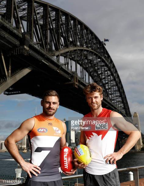 Stephen Coniglio of the GWS Giants and Dane Rampe of the Sydney Swans pose during a combined media opportunity ahead of the Sydney Derby clashes...