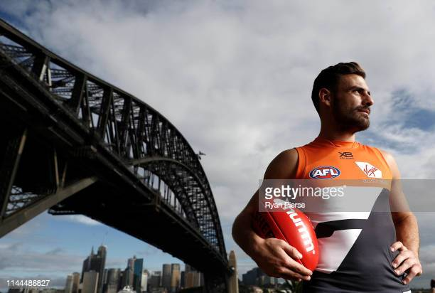 Stephen Coniglio of the GWS Giants poses during a combined media opportunity ahead of the Sydney Derby clashes between the Swans and GIANTS AFL match...