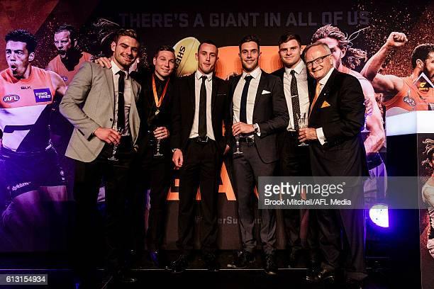 Stephen Coniglio Toby Greene Tom Scully Josh Kelly Heath Shaw and club chairman Tony Shepard at the Greater Western Sydney AFL Awards Night on...