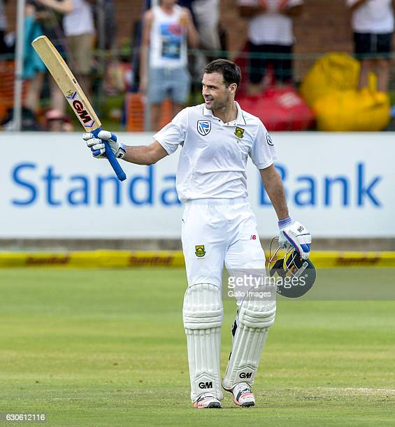 Stephen Cook of South Africa celebrates his century during day 3 of the 1st Test match between South Africa and Sri Lanka at St George's Park on...