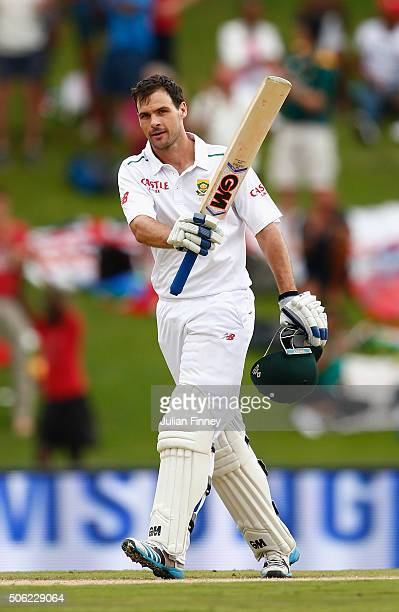 Stephen Cook of South Africa celebrates his century during day one of the 4th Test at Supersport Park on January 22 2016 in Centurion South Africa