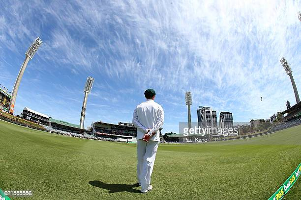 Stephen Cook of South Africa fields during day five of the First Test match between Australia and South Africa at the WACA on November 7 2016 in...