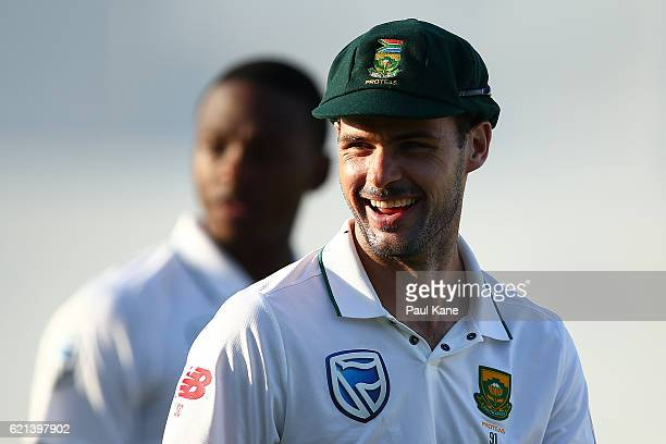 Stephen Cook of South Africa smiles while walking from the field during day four of the First Test match between Australia and South Africa at the...