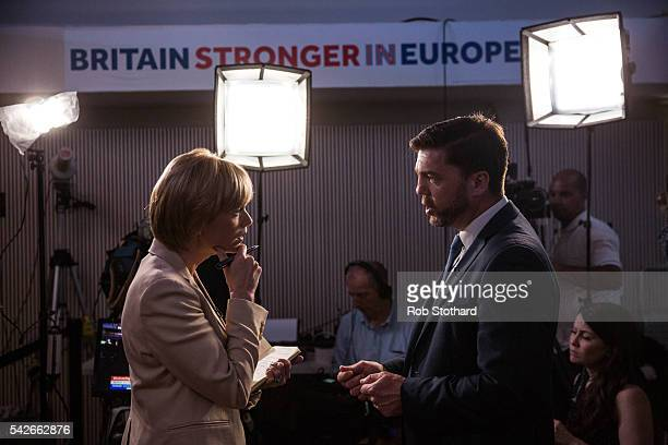 Stephen Crabb Secretary of State for Work and Pensions is interviewed by a journalist as supporters of the Stronger In Campaign gather to hear the EU...