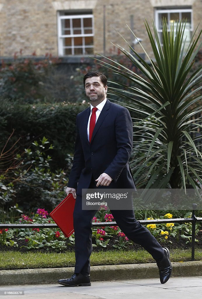 Stephen Crabb, U.K. secretary of state for Wales, arrives in Downing Street in London, U.K., on Wednesday, March 16, 2016. U.K. Chancellor of the Exchequer George Osborne is set to unveil sweeping education reforms in his Budget on Wednesday as he seeks to sweeten the pill of austerity three months before the referendum on European Union membership. Photographer: Simon Dawson/Bloomberg via Getty Images