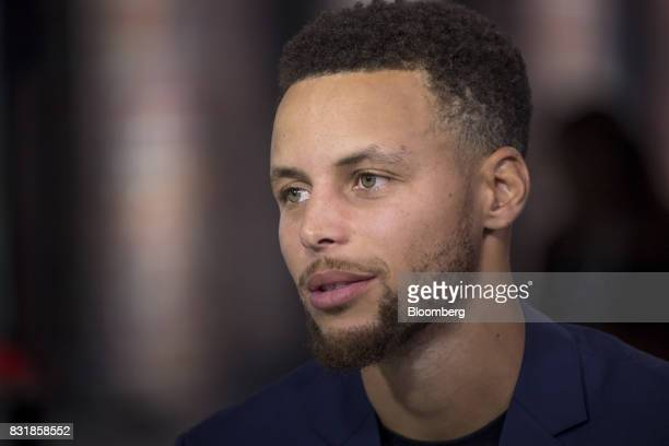 Stephen Curry a professional basketball player with the National Basketball Association's Golden State Warriors speaks during a Bloomberg Television...