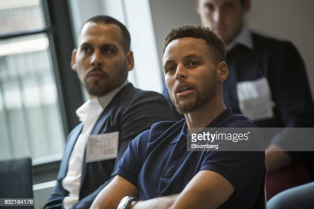 Stephen Curry a professional basketball player with the National Basketball Association's Golden State Warriors speaks during The Players Technology...