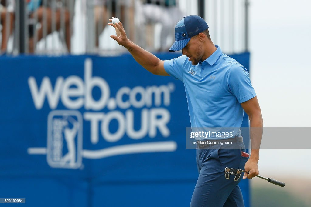 Stephen Curry acknowledges the fans after finishing the eighteenth hole during round one of the Ellie Mae Classic at TCP Stonebrae on August 3, 2017 in Hayward, California.