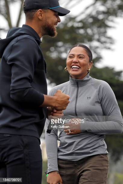 Stephen Curry and Ayesha Curry speak at The Workday Charity Classic, hosted by Stephen and Ayesha Curry's Eat. Learn. Play. And Workday, at Franklin...