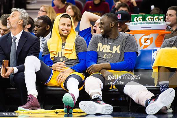 Stephen Curry and Draymond Green of the Golden State Warriors on the bench during the second half against the Cleveland Cavaliers at Quicken Loans...