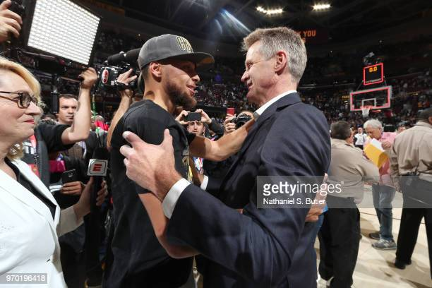 Stephen Curry and head coach Steve Kerr of the Golden State Warriors after Game Four of the 2018 NBA Finals against the Cleveland Cavaliers on June 8...