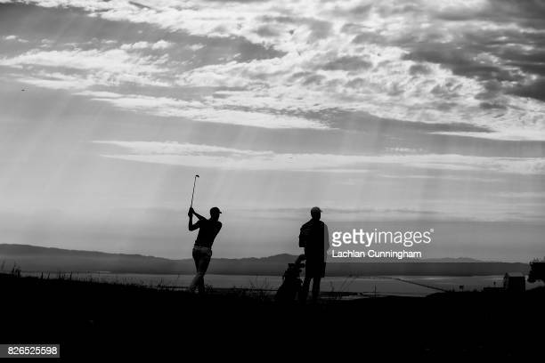 Stephen Curry and his caddie Jonnie West play up the ninth hole during round two of the Ellie Mae Classic at TCP Stonebrae on August 4 2017 in...