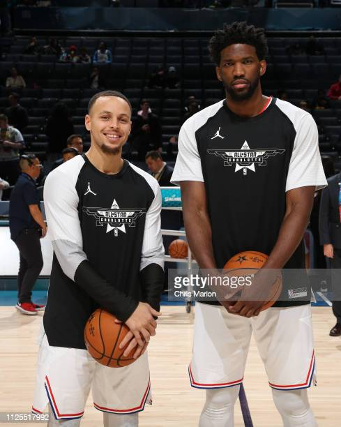 Stephen Curry and Joel Embiid of Team Giannis poses for a photo during the 2019 NBA AllStar Game on February 17 2019 at the Spectrum Center in...