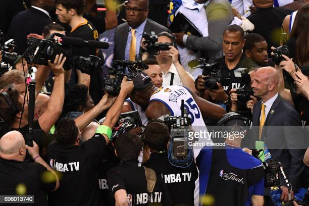 Stephen Curry and Kevin Durant of the Golden State Warriors celebrate after winning the NBA Championship against the Cleveland Cavaliers in Game Five...