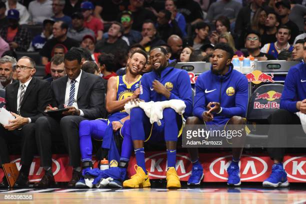 Stephen Curry and Kevin Durant of the Golden State Warriors react on October 30 2017 at STAPLES Center in Los Angeles California NOTE TO USER User...