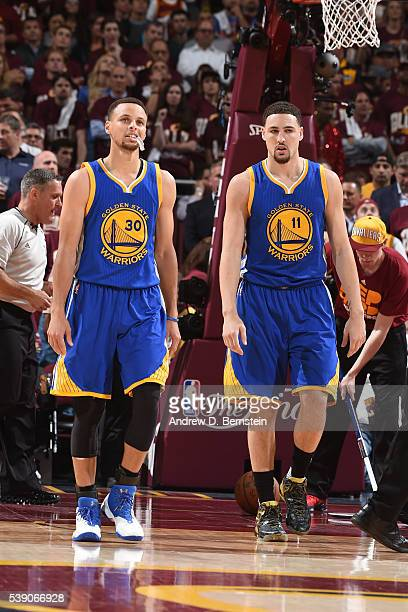 Stephen Curry and Klay Thompson of the Golden State Warriors during the game against the Cleveland Cavaliers in Game Three of the 2016 NBA Finals on...