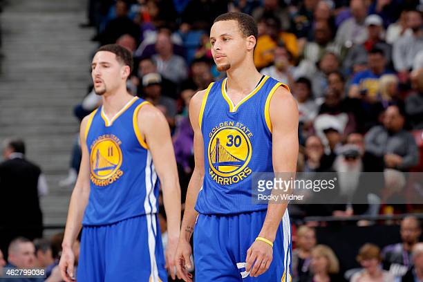 Stephen Curry and Klay Thompson of the Golden State Warriors face off against the Sacramento Kings on February 3 2015 at Sleep Train Arena in...