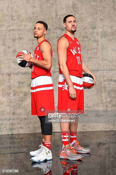Stephen Curry and Klay Thompson of the West AllStars pose for a portrait as part of NBA AllStar 2016 on February 14 2016 at the Air Canada Centre in...