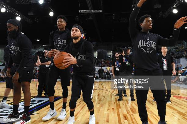 Stephen Curry and Kyle Lowrey shoot during the 3point contest at the end of the practice for Team Curry at Verizon Up Arena at LACC on February 17...