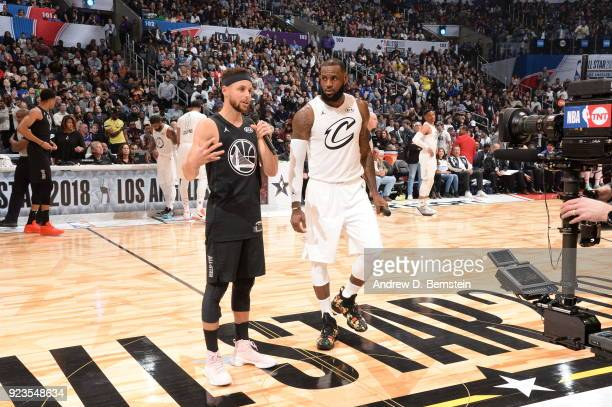 Stephen Curry and LeBron James speak to the crowd during the NBA AllStar Game as a part of 2018 NBA AllStar Weekend at STAPLES Center on February 18...