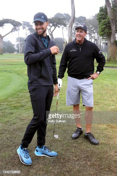 Stephen Curry and Phil Mickelson attend The Workday Charity Classic, hosted by Stephen and Ayesha Curry's Eat. Learn. Play. And Workday, at Franklin...