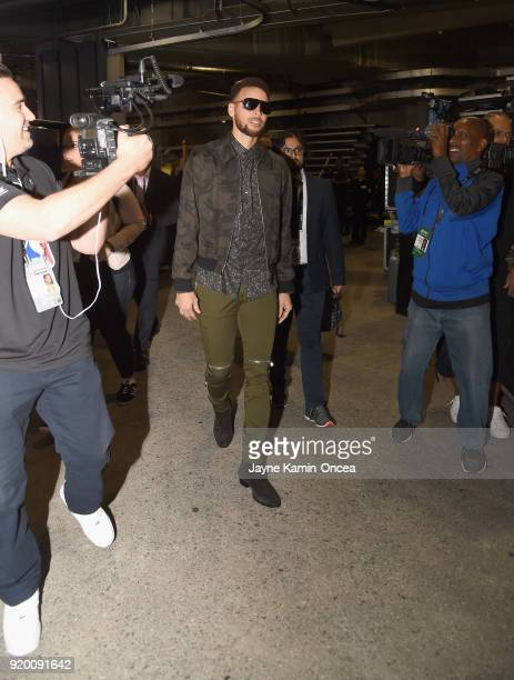 Stephen Curry arrives to the NBA AllStar Game 2018 at Staples Center on February 18 2018 in Los Angeles California