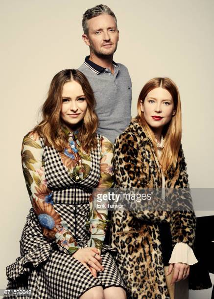 Stephen Curry Ashleigh Cummings and Emma Booth from 'Hounds of Love' pose at the 2017 Tribeca Film Festival portrait studio on April 21 2017 in New...