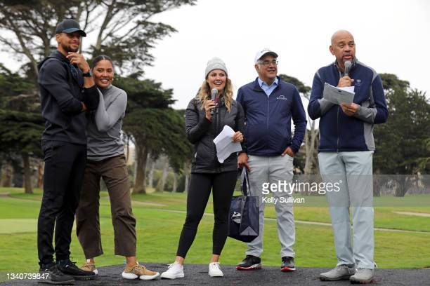 Stephen Curry, Ayesha Curry, Amanda Balionis, CEO and Co-Founder of Workday Aneel Bhusri, and Michael Wilbon speak at The Workday Charity Classic,...