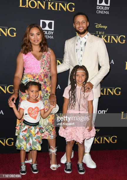 """Stephen Curry, Ayesha Curry and kids attend the Premiere Of Disney's """"The Lion King"""" at Dolby Theatre on July 09, 2019 in Hollywood, California."""